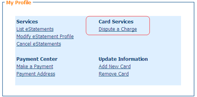 Card Services - Dispute a Charge - Screenshot